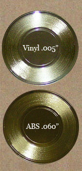 thin vinyl flexi gold record and eighth inch rigid mini gold record