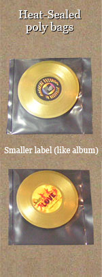 mini gold record magnets in poly bags