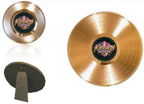 7 inch and 12 inch easelback gold records